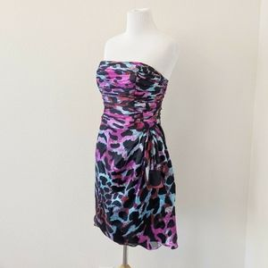 Cache Size 6 Purple Animal Print Strapless Dress